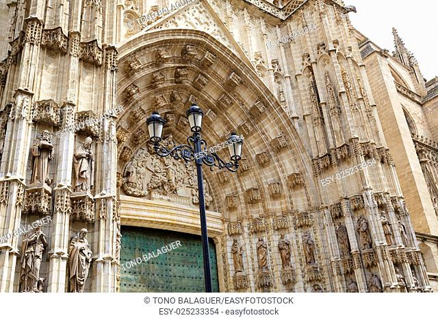 Seville cathedral facade in Constitucion avenue of Sevilla Andalusia Spain