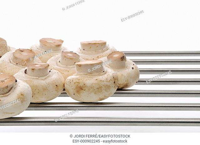 Some champignons in the grill on white background