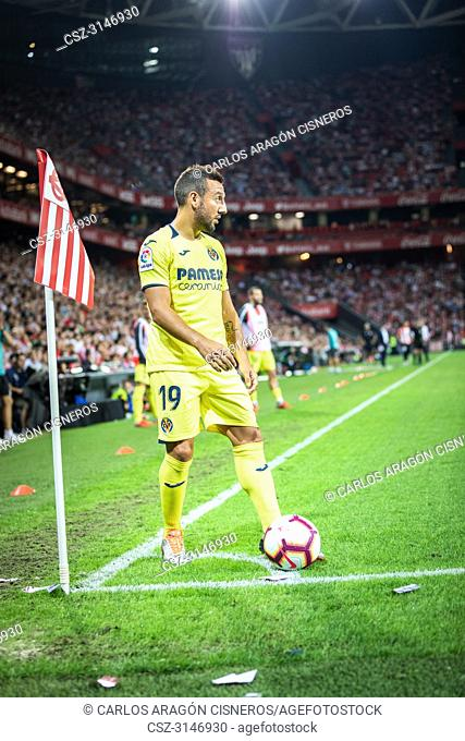 Santi Cazorla, Villarreal CF player in action during a Spanish League match between Athletic Club Bilbao and Villarreal CF