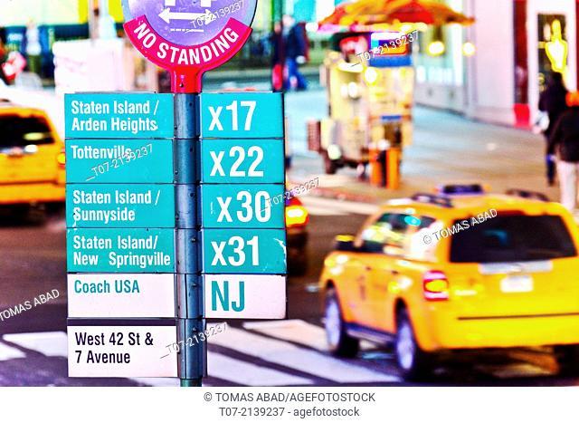 Times Square, 42nd Street bus stop, Rush hour traffic, Mass Transit, Broadway, Midtown Manhattan, New York City, USA