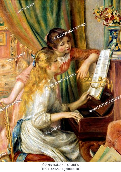 'Young Girls at the Piano', 1892. One sister is seated at the keyboard while the other leans against the upright piano looking at the music being played
