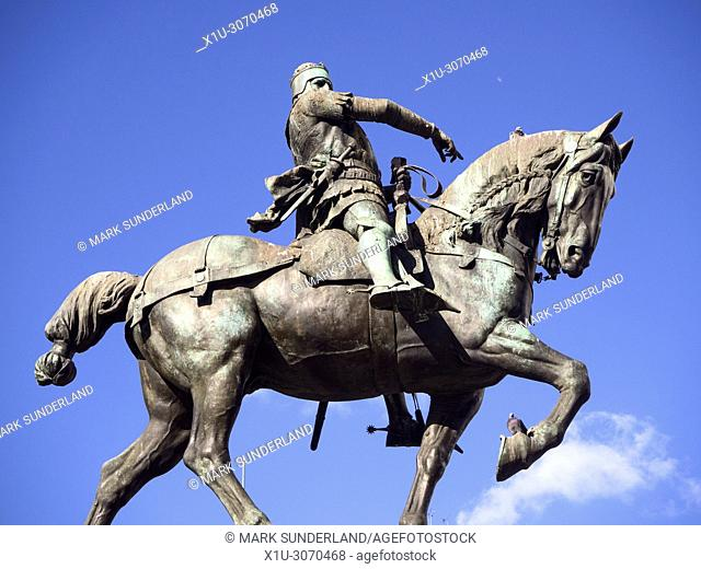 Statue of Edward the Black Prince on horseback in City Square Leeds West Yorkshire England