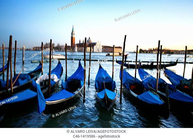 Gondolas and San Giorgio Maggiore church in background  Venice  Veneto, Italy