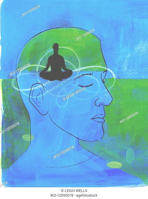 Serene man meditating