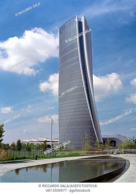 Italy, Lombardy, Milan, CityLife, Hadid Tower designed by Zaha Hadid Architect