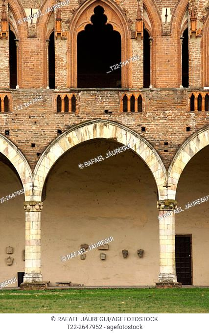 Pavia (Italy). Archery inside the Visconti Castle in the city of Pavia