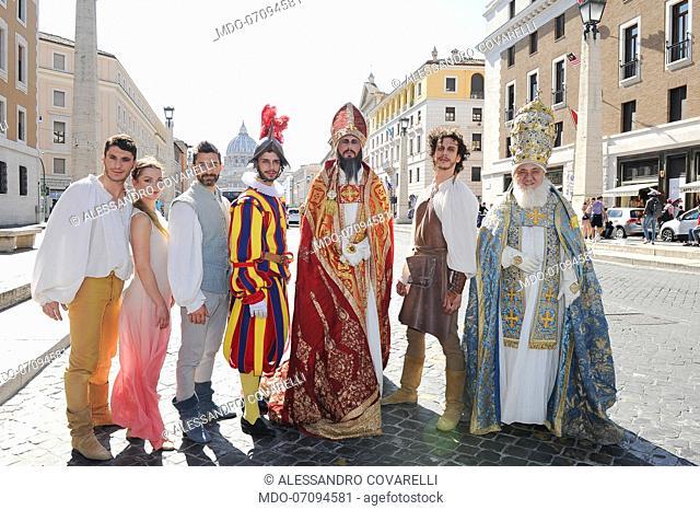 Actors Manuel William Rapicano, Francesca Dal Lago, Rimi Cerloj, Alessandro Covarelli, Danilo Monardi, Eugenio Di Fraia and Francesco Maria Cordella attend the...
