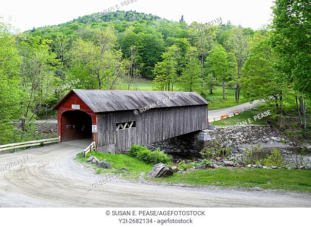 Green River Bridge, in the center of the pretty village of Green River, Guilford, Vermont, United States, North America