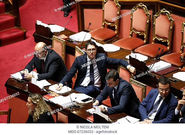Italian politician Nicola Molteni during the discussion in the Senate on the security decree bis and the vote of confidence. Rome, August 5th, 2019