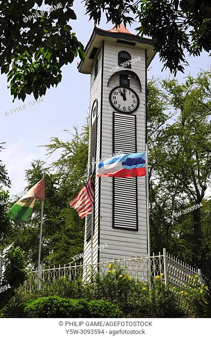 Atkinson Clock Tower in Kota Kinabalu (formerly Jesselton), the capital of Sabah, Malaysian Borneo. The clocktower is a memorial to a young colonial officer who...