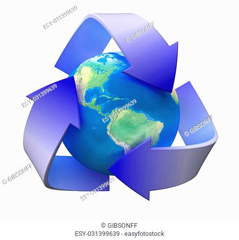 Image of 3d recycle sign with globe. White background