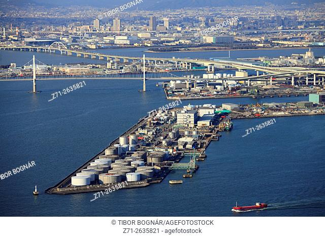 Japan, Osaka, Bay Area, aerial view;