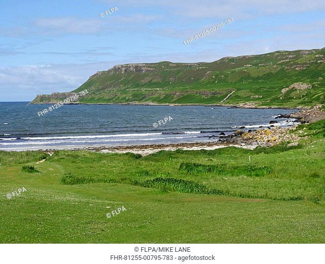 View of machair, beach and coastline, Calgary Bay, Isle of Mull, Inner Hebrides, Scotland, July