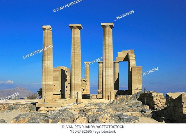 Temple of Athena Lindia, Acropolis of Lindos, Rhodes, Dodecanese, Greece