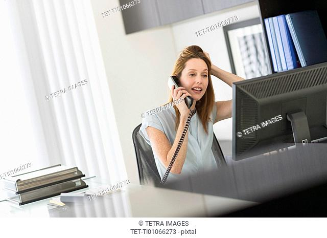 Business woman using computer and phone in office