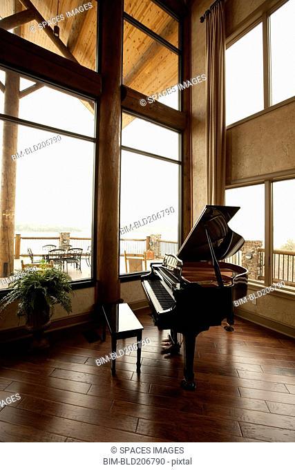 Baby Grand Piano in a Corner
