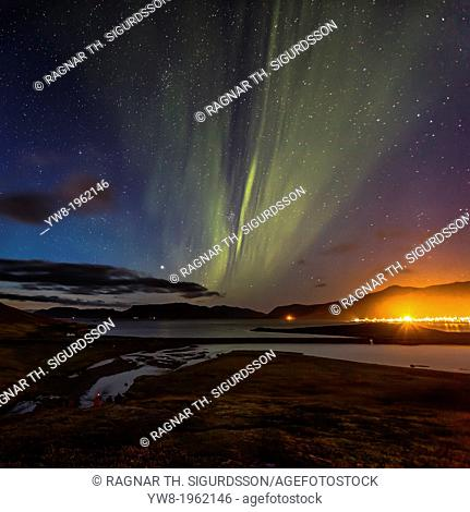 Aurora Borealis or Northern lights over Grundarfjordur, Snaefellsnes Peninsula, Iceland
