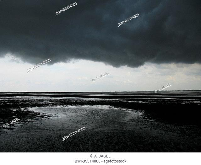 approaching thunderstorm over the wadden sea, Germany, Baltrum, Lower Saxony Wadden Sea National Park