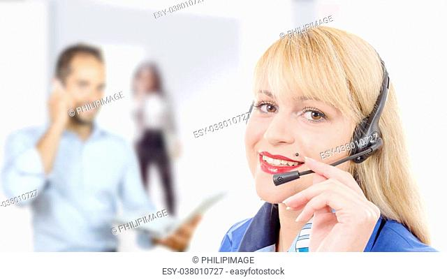 a portrait of smiling cheerful support phone operator in headset