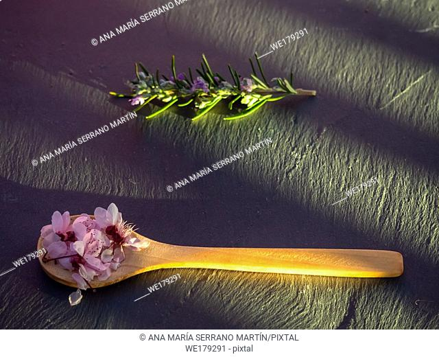 A wooden spoon with edible flowers and a rosemary twig on a slate plate