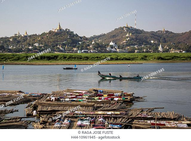 Mandalay, Myanmar, Burma, Asia, Sagaing, architecture, boat, boats, city, cloths, colourful, drying, stupas, famous, golden, hill, pagodas, religion, river