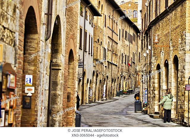 Via Saint Giovanni street, San Gimignano, Town of Fine Towers, medieval hill town, medieval architecture, UNESCO World Heritage, Siena province, Tuscany, Italy