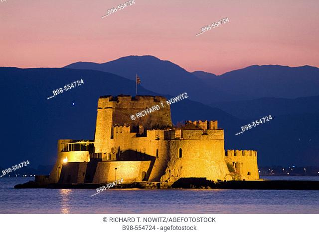 Nauplia, Greece, Bourtzi Island and Fortress at twilight