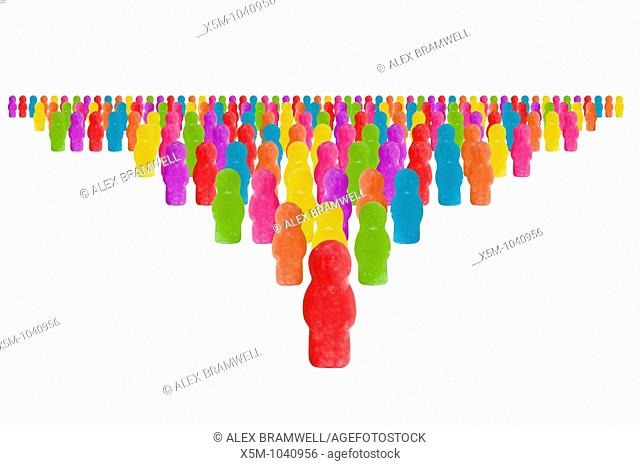 A crowd of jellybabies in rainbow colors
