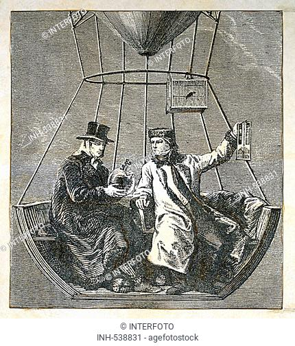 Gay-Lussac, Joseph Louis, 6 12 1778 - 9 5 1850, French scientist, with Jean Baptiste Biot, altitude flight in a balloon, 9 9 1804, engraving, 19th century