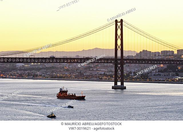 25 de Abril bridge and the Tagus river, Lisbon. Portugal