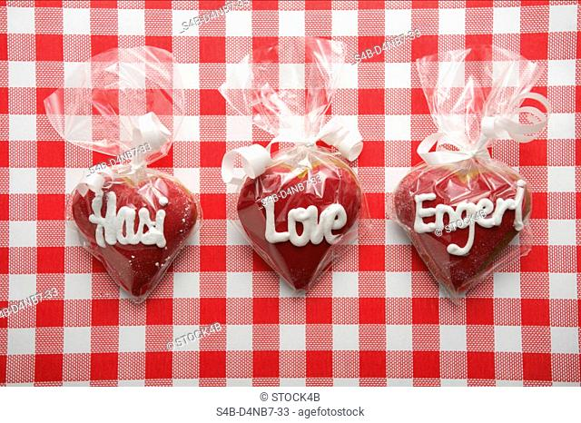 Lettered candy hearts packed in foil