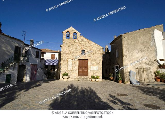 Roseto Capo Spulico view on a square with an ancient little church, Calabria, Italy