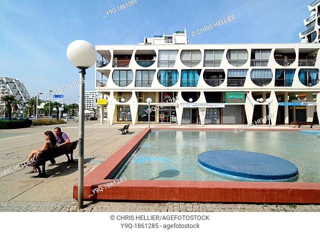 Delta Building 1971 by Jean Balladur Town Square and Pool La Grande-Motte Hérault France