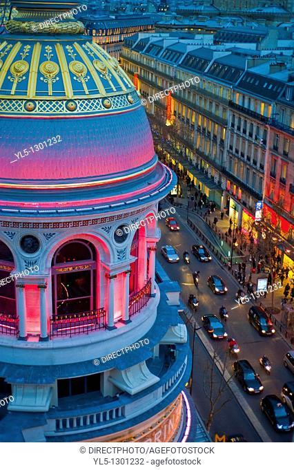Paris, France, Overview, Printemps Department Store, Outside, Dusk, Boulevard Haussmann