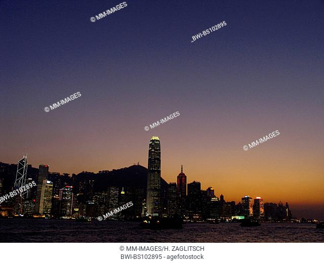 skyline of the Central District with the International Finance Centre at sunset, China