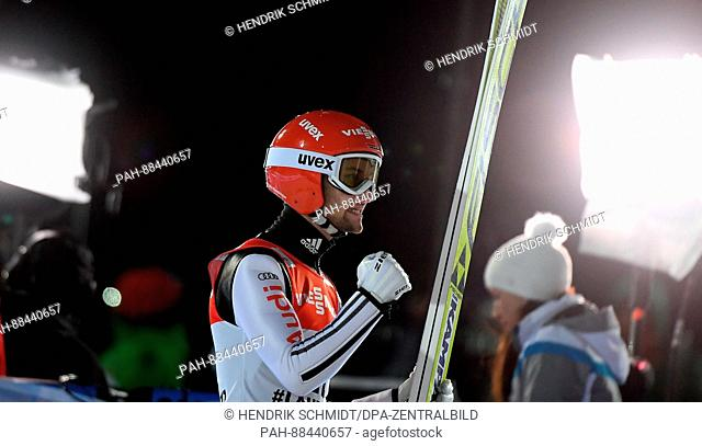 Markus Eisenbichler from Germany celebrates his third place in men's ski jumping at the 2017 Nordic World Ski Championships in Lahti, Finland, 25 February 2017