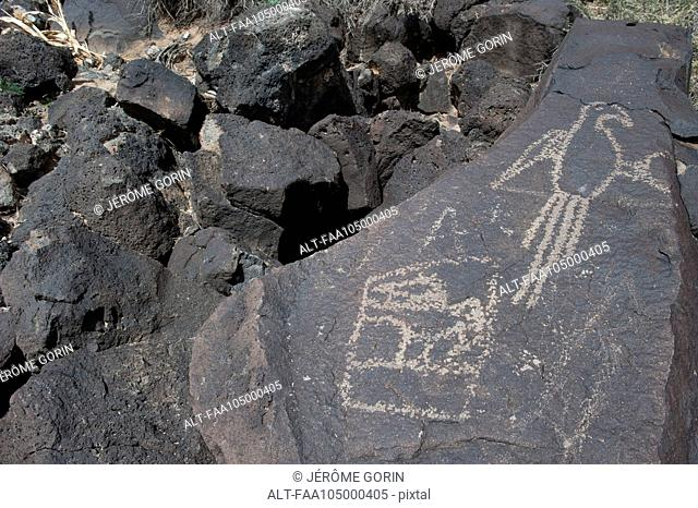 Carvings at Petroglyph National Monument, Albuquerque, New Mexico, USA