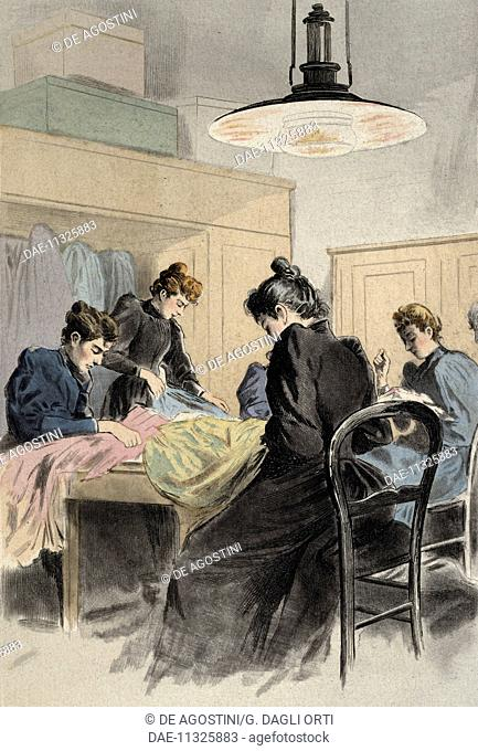 A tailor, engraving by Frederic Masse, painting by Pierre Vidal (1849-1929), from La Femme a Paris nos contemporaines, Octave Uzanne magazine (1851-1931), 1894