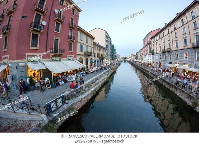 The old naviglio in a summer dusk. Milan, Lombardy. Italy