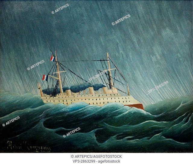 """Henri-Julien Félix Rousseau aka """"""""Le Douanier"""""""". Le navire dans la tempête - Boat in the storm. 1899. XX th Century. Paris Orangerie Museum"""