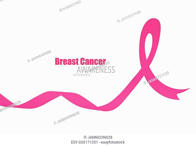 Breast cancer awareness pink ribbon, healthcare and medicine concept. Vector Illustration