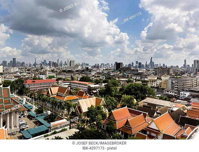 Panoramic view looking southeast from Golden Mount, skyline, Bangkok, Thailand