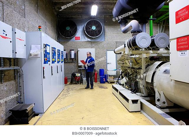 Photo essay at the hospital of Meaux 77, France. Technical services. On the right of the image : generator