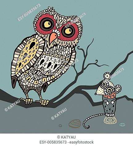 Decorative Owl and Mouse. Cartoon illustration