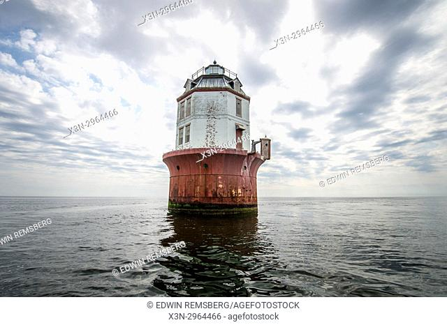 Solitary, well-worn lighthouse awaits ships coming in to the Chesapeake Bay