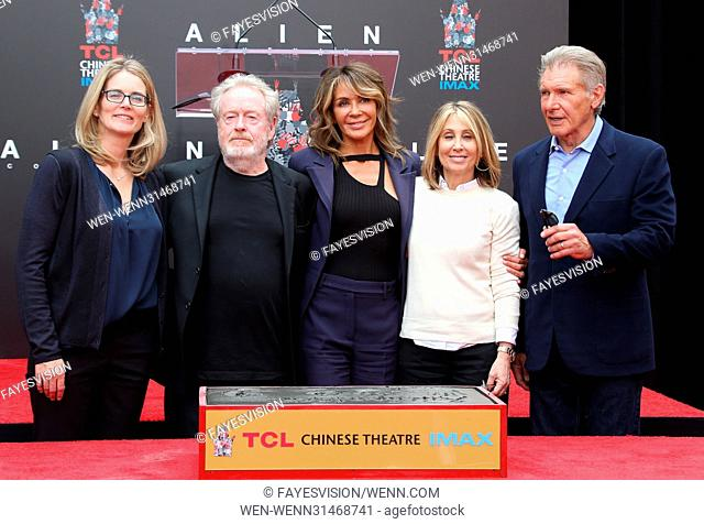 Sir Ridley Scott Hand and Footprint Ceremony Featuring: Sir Ridley Scott, Giannina Facio, Harrison Ford, Guests Where: Hollywood, California