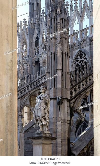 On the rooftop of the Duomo di Milano, among the white marble spiers, Milano, Lombardy, Italy