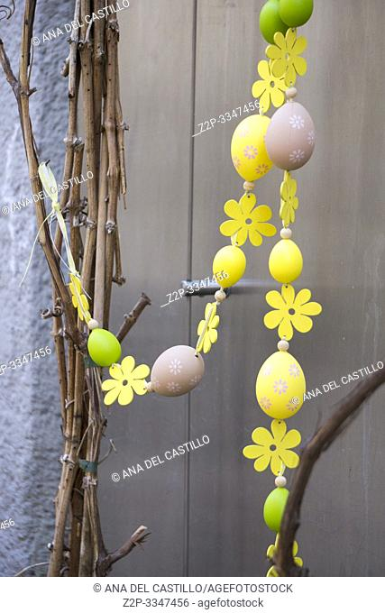 Easter background with colored eggs South Tirol Italy