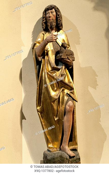Saint John the Baptist, 15th-16th century, German, Limewood with paint and gilding, Overall: 44 5/8 x 12 1/2 x 8 3/8 in , 113 3 x 31 8 x 21 3 cm