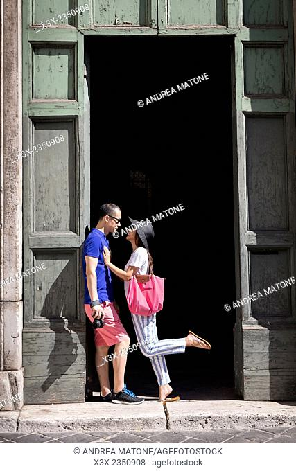 Couple visiting Rome Italy